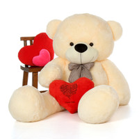 6ft Cozy Cuddles Vanilla Giant Teddy w Happy Valentine's Day I Love You Heart