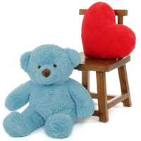 Adorable 30in sky blue teddy bear Sammy Chubs