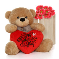 3ft Giant Teddy Bear Amber Brown Shaggy Cuddles with HVD Red Plush Heart