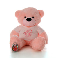4ft Lady Cuddles Pink Teddy Bear in Happy Valentine's Day T-Shirt