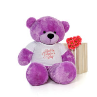 5ft DeeDee Cuddles Purple Huge Teddy Bear in Valentine's Day T-Shirt