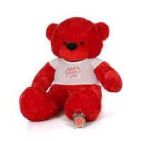 72in Bitsy Cuddles Red Gigantic Teddy Bear in Adorable Happy Valentine's Day Shirt