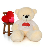 60in Cozy Cuddles Vanilla Cream Giant Teddy in Happy Valentine's Day Red Heart Shirt