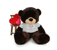 72in Brownie Cuddles Huge Teddy Bear in Swirling Heart Happy Valentine's Day Shirt
