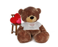 6ft Sunny Cuddles Mocha Brown Giant Teddy Bear in Swirling Heart Happy Valentine's Day Shirt