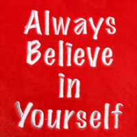 Red Heart Pillow Always Believe In Yourself Text