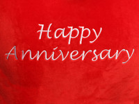 Happy Anniversary Red Heart Cushion Text