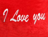 Red Heart Pillow I Love You Text