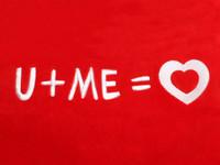 Red Heart Pillow U+ME=Love Text