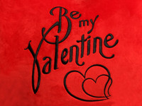 Red Plush Heart Be My Valentine Text