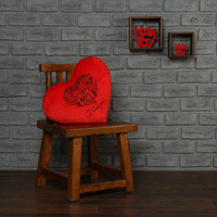 18in red heart pillow black embroidery I love you