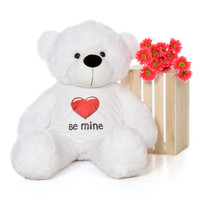 4ft White Coco Cuddles Giant Teddy with a Be Mine Valentine's Day T-Shirt