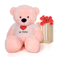 60in Lady Cuddles Pink Giant Teddy Bear in Be Mine T-Shirt
