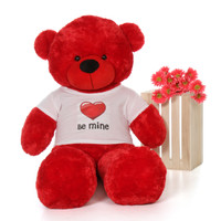 60in Red Bitsy Cuddles Giant Teddy Bear in Be Mine T-Shirt