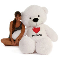 "72"" White Coco Cuddles by Giant Teddy in Be Mine Valentine's Day T-Shirt"