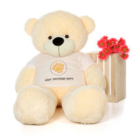 60in Cozy Cuddles Vanilla Giant Teddy Bear in Paw Stamp Valentine's T-Shirt