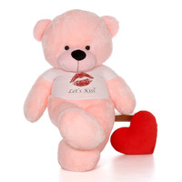 6ft Lady Cuddles Pink Giant Teddy Bear wearing a Let's Kiss T-Shirt for Valentine's Day