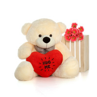48in Vanilla Giant Teddy Cozy Cuddles with red heart plush