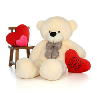 60in Cozy Cuddles Vanilla Teddy Bear with XOXO heart pillow