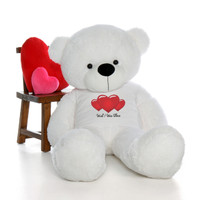 5ft Coco Cuddles Huge White Teddy Bear in cute Wish I Was There T-Shirt
