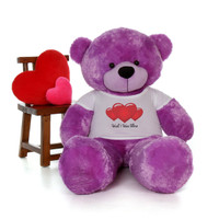5ft DeeDee Cuddles Massive Purple Teddy Bear in Valentine's Day Wish I Was There Triple Red Heart Shirt