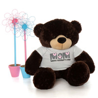 4ft Life Size Teddy Bear wearing Happy Mother's Day shirt – choose your favorite fur color!