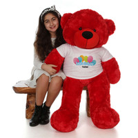 48in Red Bitsy Cuddles Happy Birthday Personalized Teddy Bear