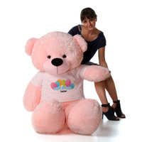 60in Pink Lady Cuddles Happy Birthday Personalized Teddy Bear