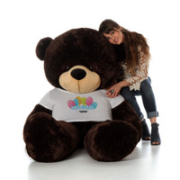 72in Chocolate Brownie Cuddles Happy Birthday Personalized Teddy Bear