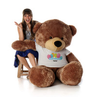 72in Mocha Sunny Cuddles Happy Birthday Personalized Teddy Bear