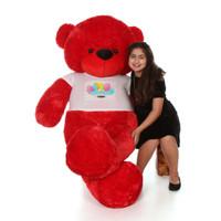 72in Red Bitsy Cuddles Happy Birthday Personalized Teddy Bear