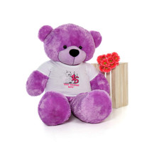 60in Purple DeeDee Cuddles Make a Wish Personalized Birthday Teddy Bear