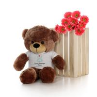 30in Mocha Sunny Cuddles in personalized blue teddy bear in bandage shirt