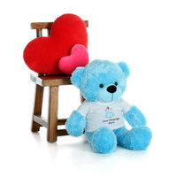 30in Blue Happy Cuddles in personalized blue teddy bear in bandage shirt