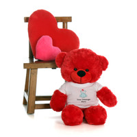 30in Red Bitsy Cuddles in personalized blue teddy bear in bandage shirt