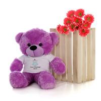 30in Purple DeeDee Cuddles in personalized blue teddy bear in bandage shirt