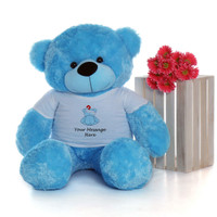 48in Blue Happy Cuddles in personalized blue teddy bear in bandage shirt