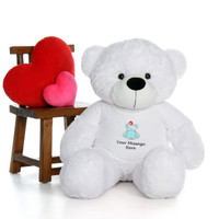 48in White Coco Cuddles in personalized blue teddy bear in bandage shirt
