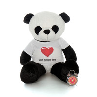4ft Giant Panda in personalized Red Heart shirt