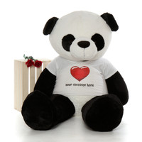 5ft Giant Panda in personalized red heart shirt