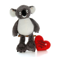 "Giant Koala with XL Red ""Happy Valentine's Day"" Heart Pillow (Select Your Size)"