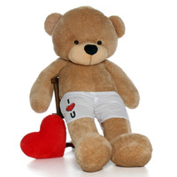 """6 Foot Amber Brown Teddy Bear with """"I Heart You"""" Boxer Message"""
