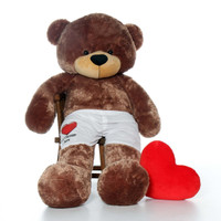 6ft Mocha Brown Sunny Cuddles by Giant Teddy in Red Heart Your Message Here Boxers