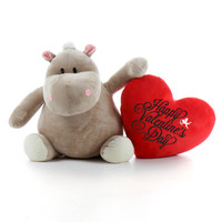 Big 2.5 feet Valentine's Day Hippo Kili Kubu with Red Heart Message Pillow