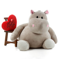54 inch Giant Teddy Brand Giant Hippo With Happy Valentine's Day Heart