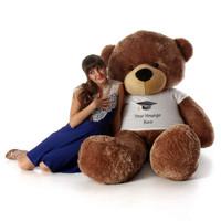72in Mocha Cuddles Personalized Graduation Teddy Bear