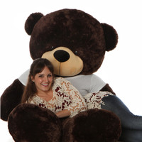 72in Life Size Chocolate Brownie Cuddles Teddy Bear with Red Heart Personalized T-shirt
