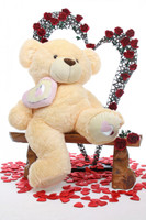Honey Pie Big Love butterscotch cream teddy bear 42in