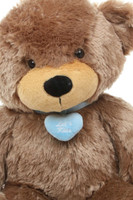 24in Huge Sunny Cuddles Mocha Brown Teddy Bear with Blue Necklace