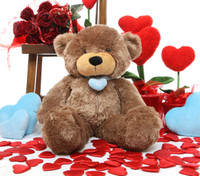 2ft Sunny L Cuddles mocha brown teddy bear with necklace